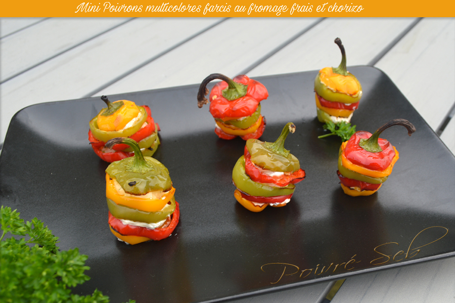 mini poivrons multicolores farcis au fromage frais et chorizo poivr seb. Black Bedroom Furniture Sets. Home Design Ideas